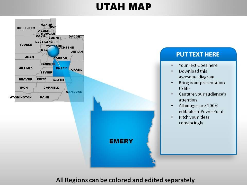 Usa Utah State Powerpoint Maps Powerpoint Design Template Sample Presentation Ppt Presentation Background Images