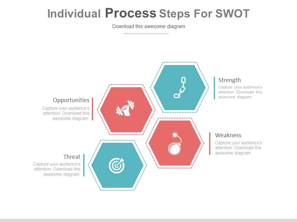 use four individual process steps for swot flat powerpoint design
