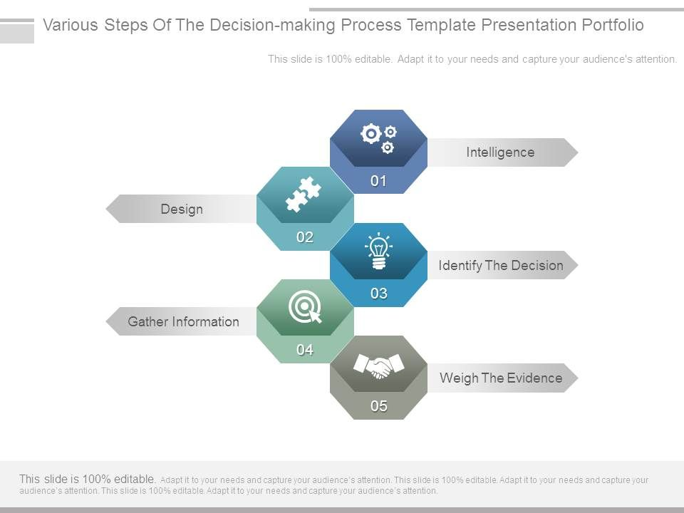 Various Steps Of The Decision Making Process Template Presentation