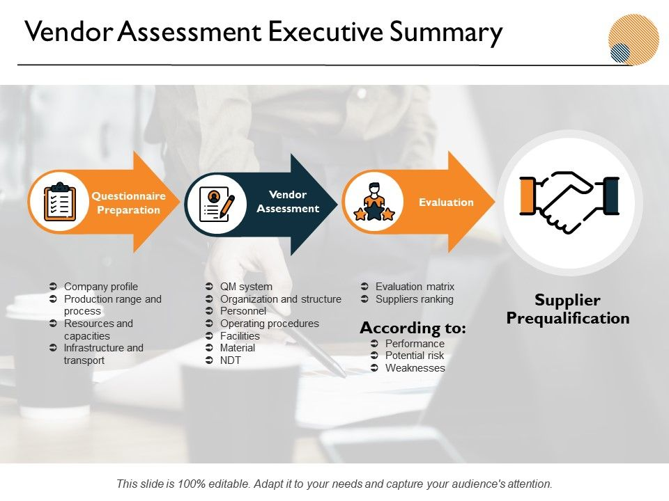 Vendor Assessment Executive Summary Ppt Powerpoint Presentation Icon