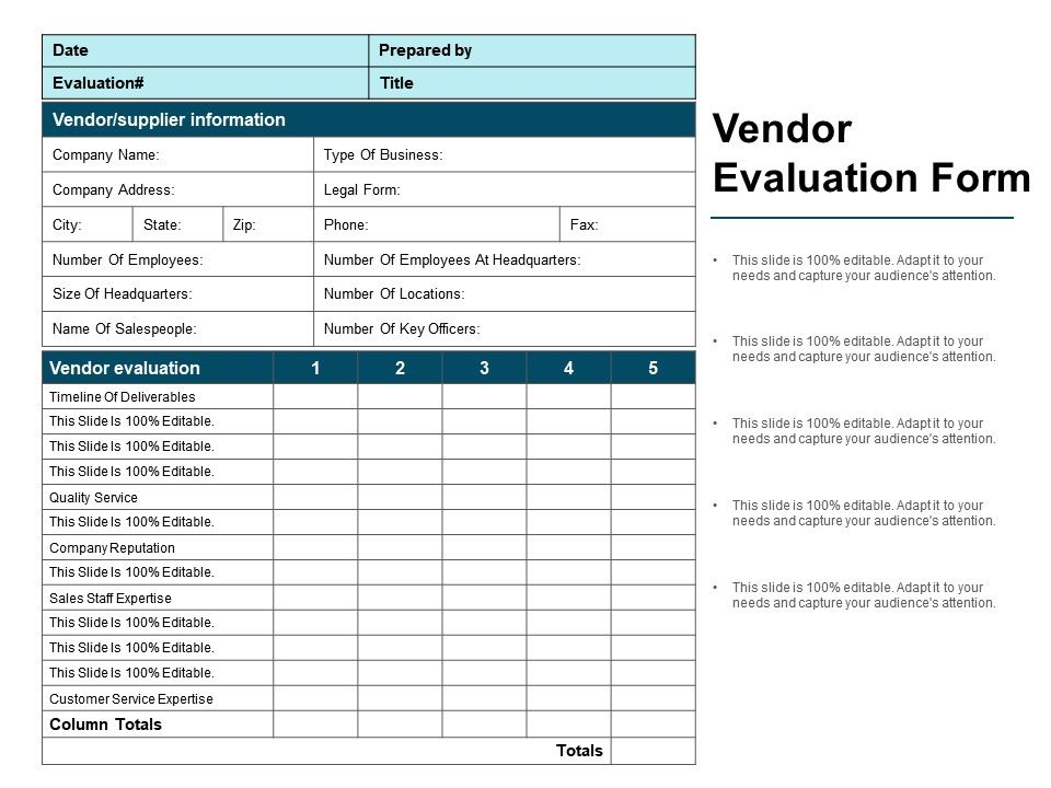 Vendor Evaluation Form Ppt Ideas  Powerpoint Templates Designs