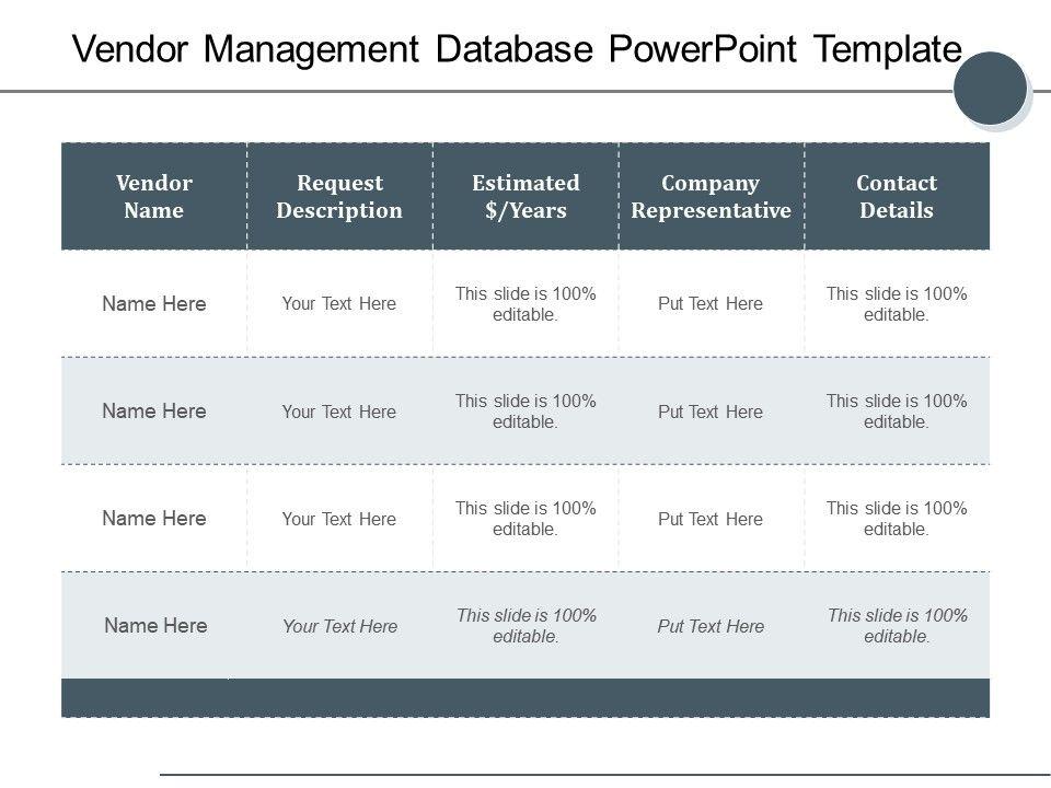Vendor Management Database Powerpoint Template Powerpoint