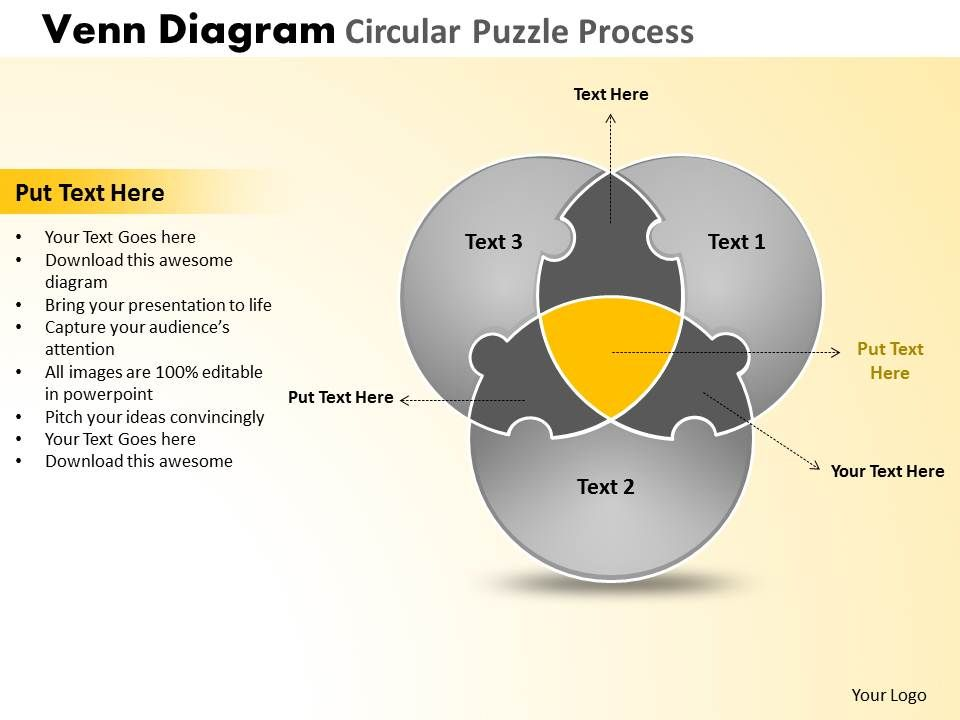 Venn Diagram Circular Puzzle Process Powerpoint Slides And Ppt
