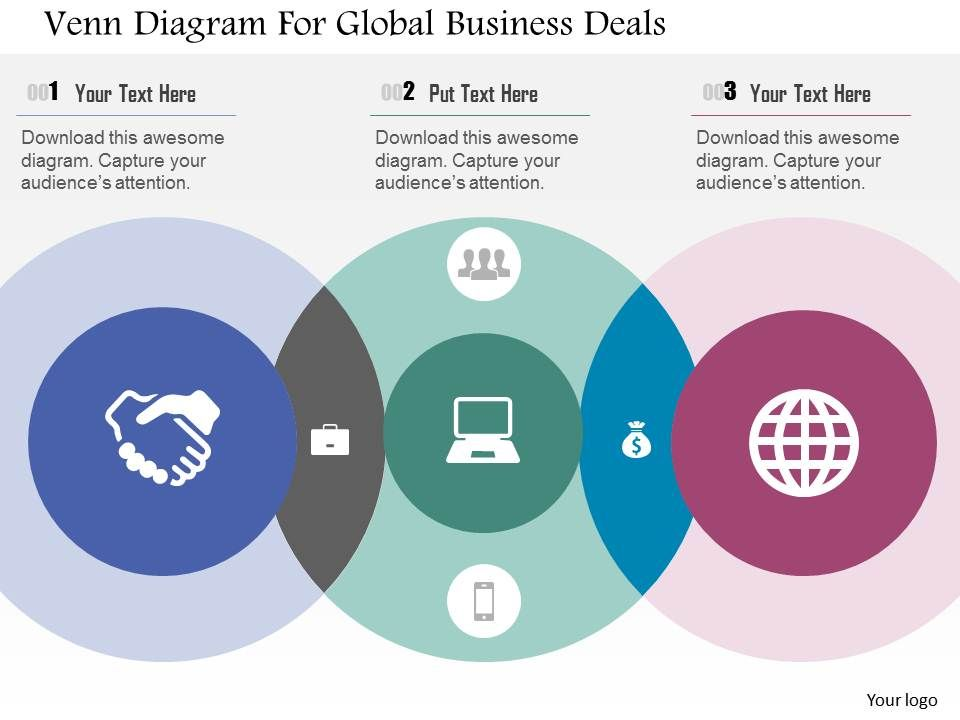 Venn Diagram For Global Business Deals Flat Powerpoint Design