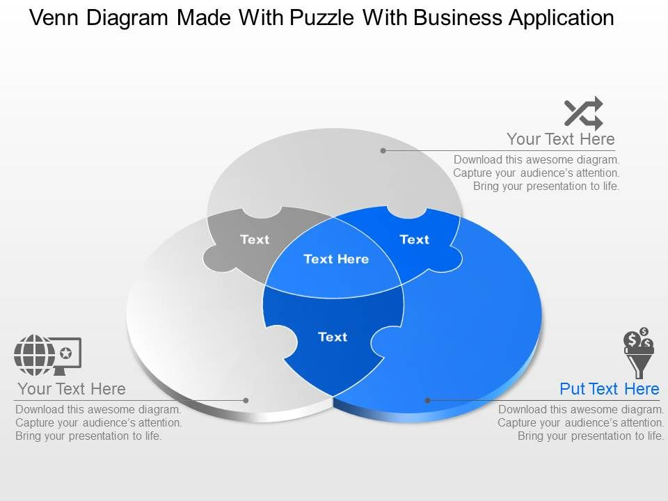 Venn diagram made with puzzle with business application powerpoint venndiagrammadewithpuzzlewithbusinessapplicationpowerpointtemplateslideslide02 ccuart Images