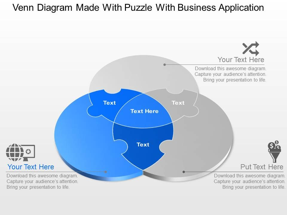 Venn diagram made with puzzle with business application powerpoint venndiagrammadewithpuzzlewithbusinessapplicationpowerpointtemplateslideslide03 ccuart Images