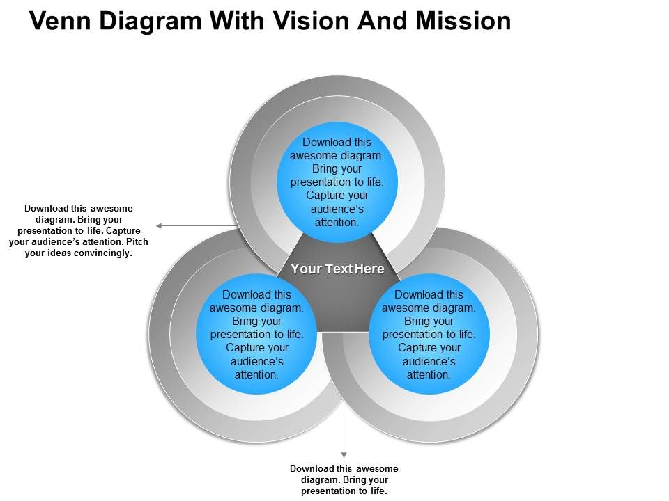 venn diagram with vision and mission powerpoint templates, Modern powerpoint