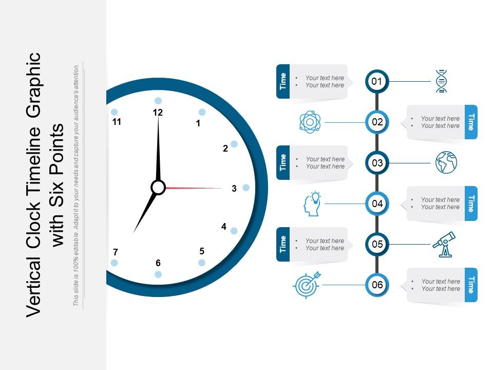 Vertical Clock Timeline Graphic With Six Points