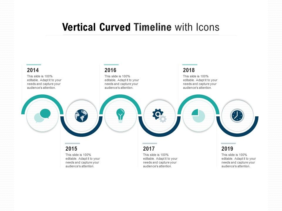 Vertical Curved Timeline With Icons