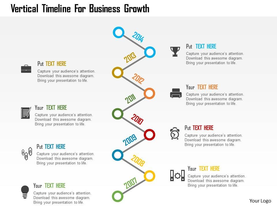 Vertical Timeline For Business Growth Flat Powerpoint Design - Timeline design template