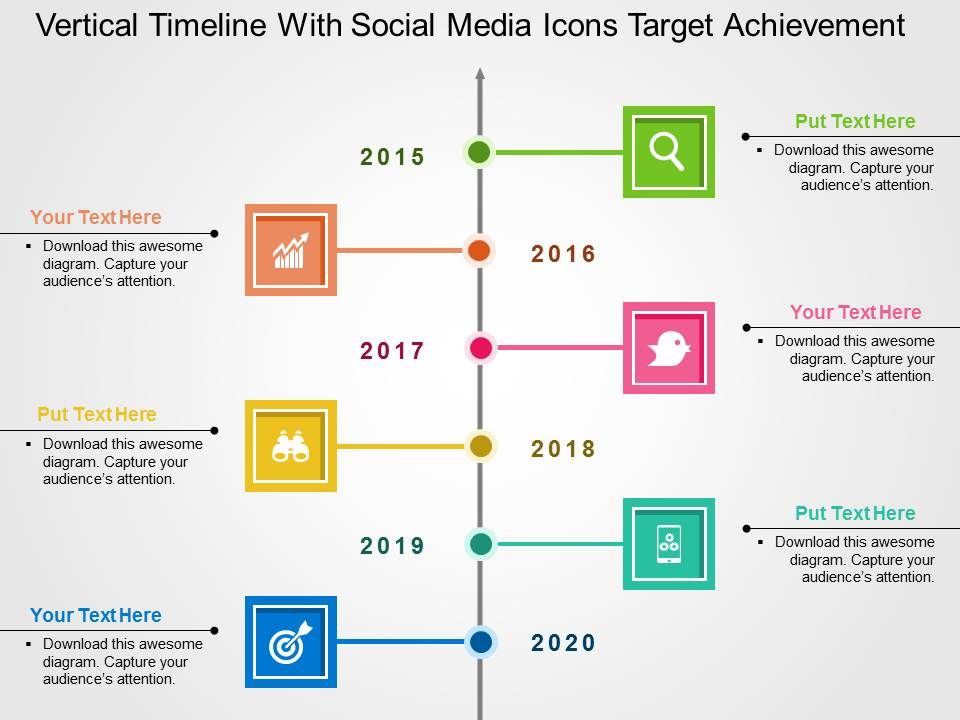 vertical_timeline_with_social_media_icons_target_achievement_flat_powerpoint_design_Slide01