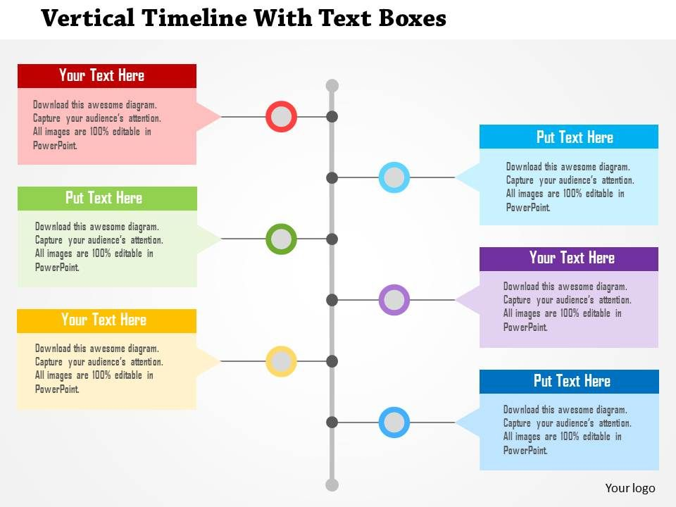 vertical timeline with text boxes flat powerpoint design templates