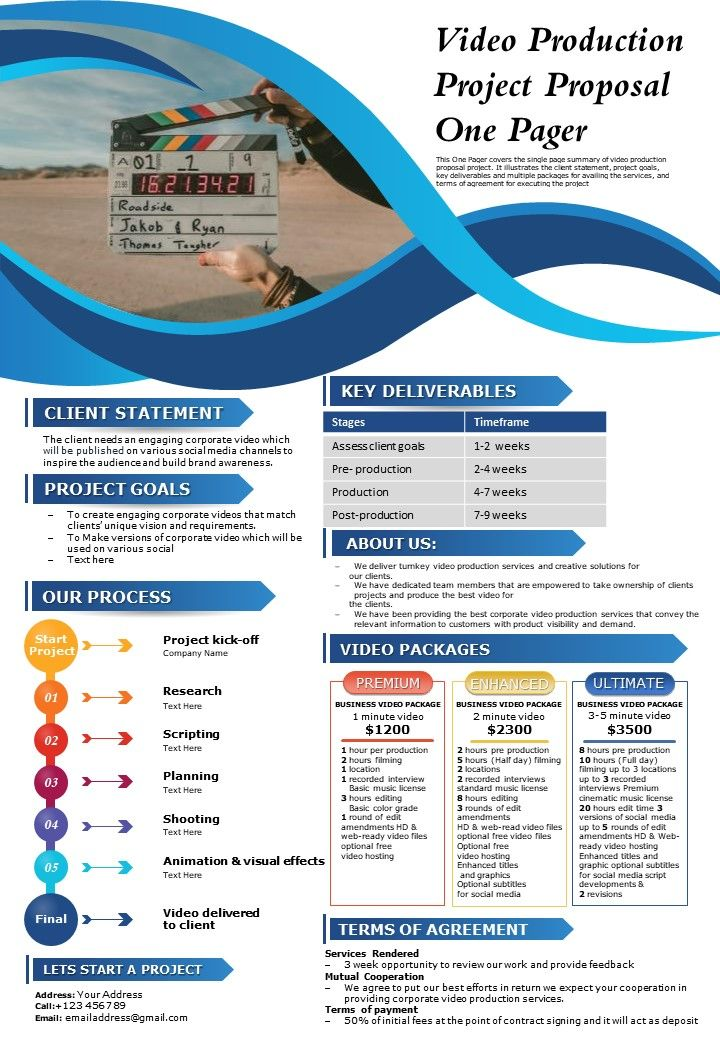 Video Production Project Proposal One Pager Presentation Report Infographic PPT PDF Document