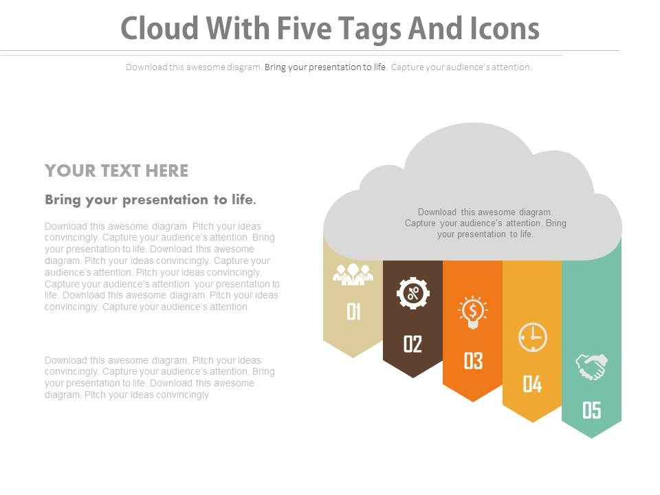 view_cloud_with_five_tags_and_icons_flat_powerpoint_design_Slide01
