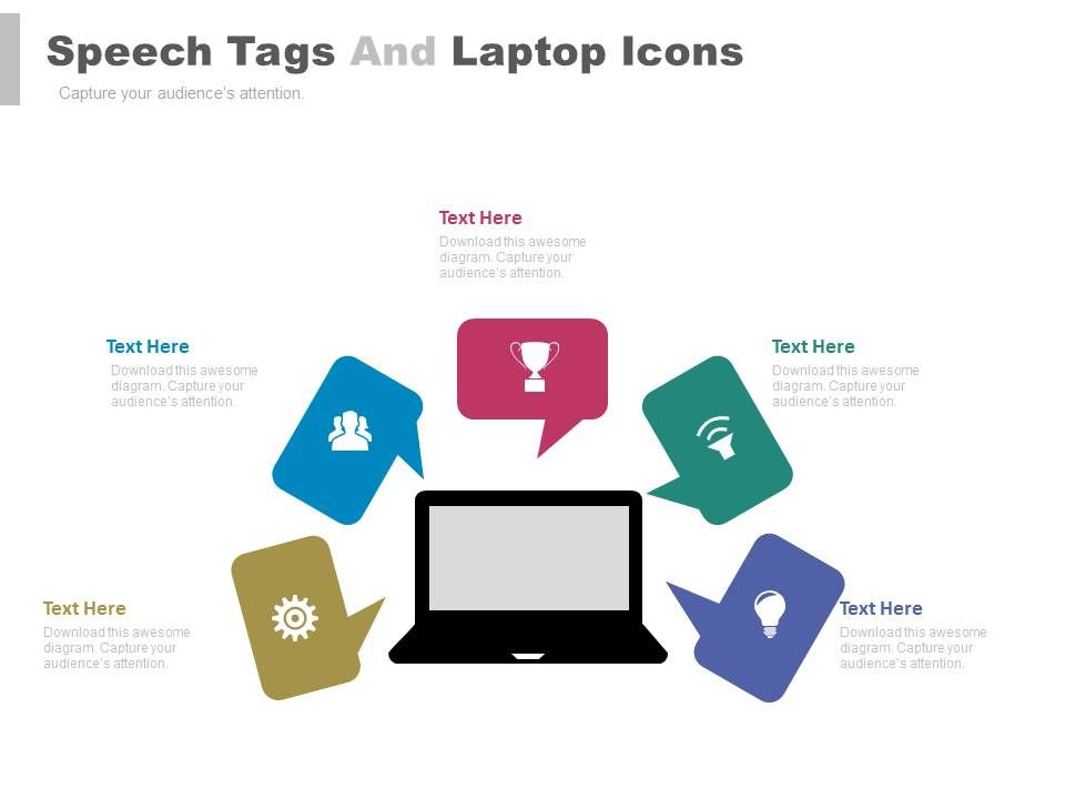 view_five_staged_speech_tags_and_laptop_icons_flat_powerpoint_design_Slide01