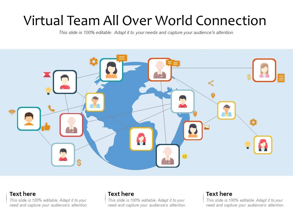 Virtual Team All Over World Connection