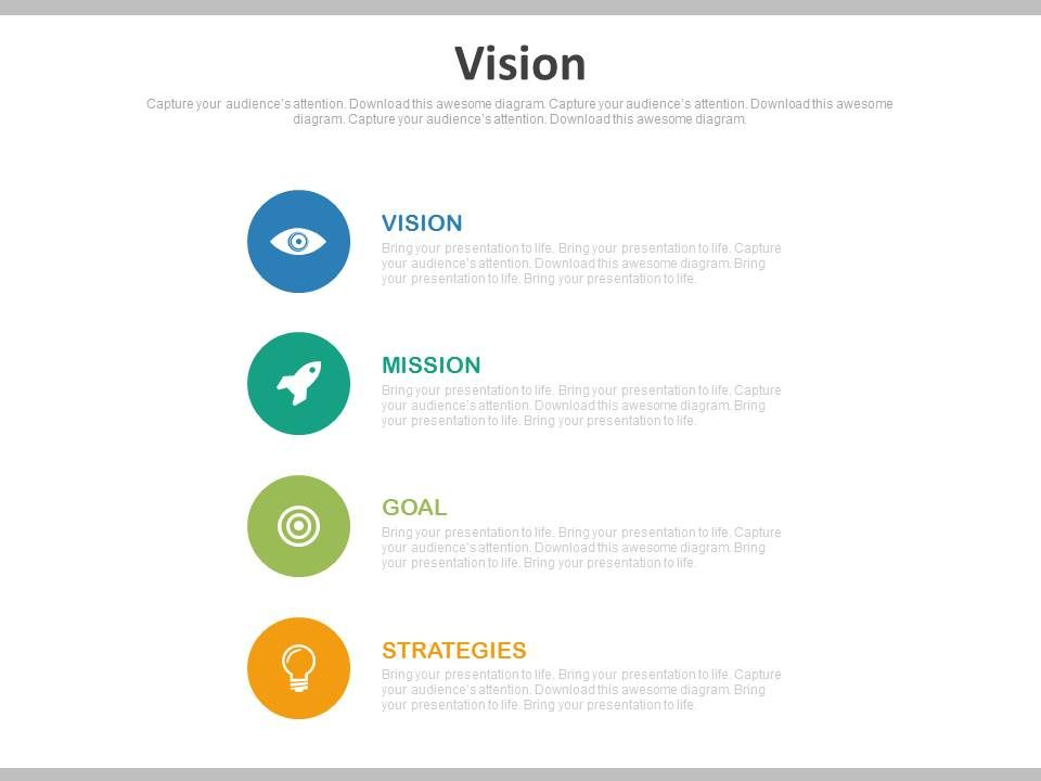 vision mission goal strategy powerpoint slides powerpoint slide