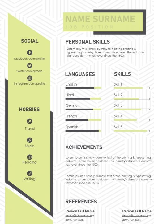 Visual Resume Design Cv Personal Statement Example Template