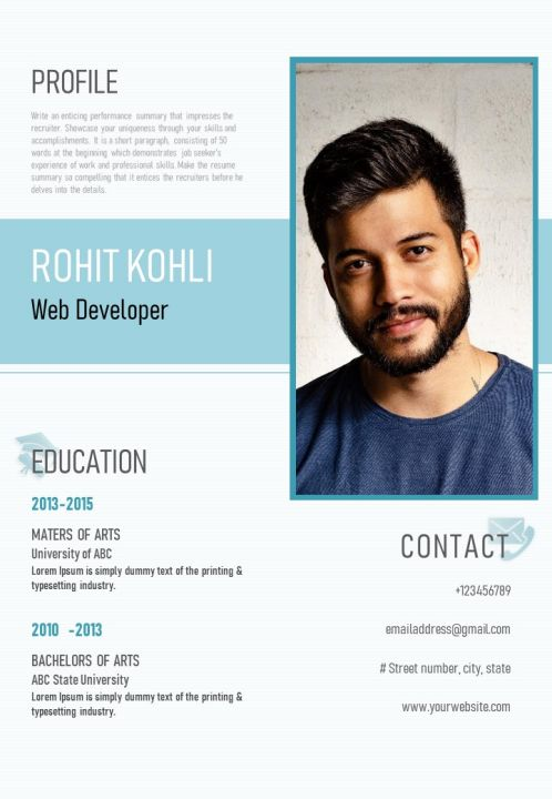 Visual Resume Design For Web Developer With Skills And Work Achievements