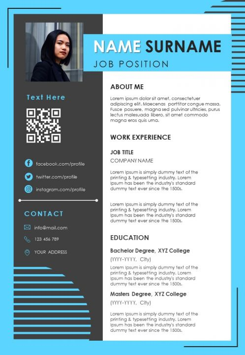 Visual Resume Design With Skills And Work Achievements