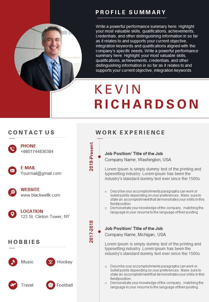 Visual Resume Example With Key Skills Section Powerpoint