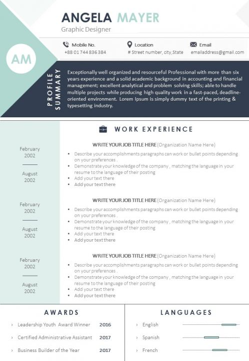 Visual Resume Format Template For Job Seekers Powerpoint Slide Templates Download Ppt Background Template Presentation Slides Images