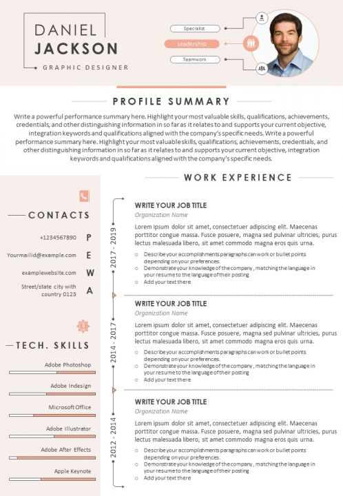 visual resume sample for graphic designer with profile