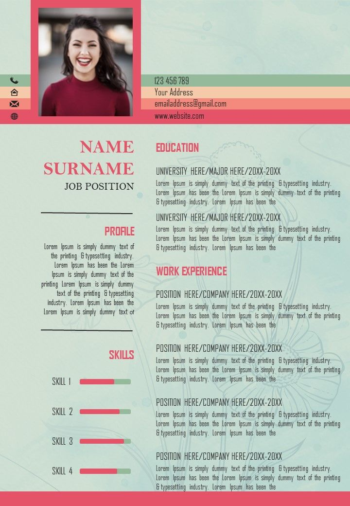 Visual Resume Template CV Layout To Get Noticed ...