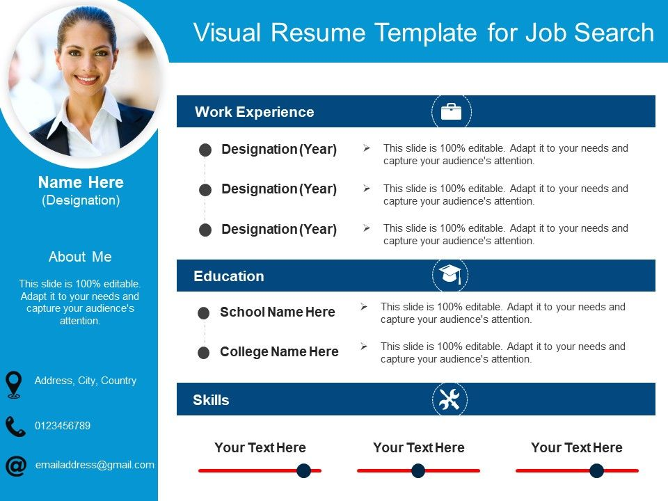 Visual Resume Template For Job Search   Powerpoint Slides Diagrams