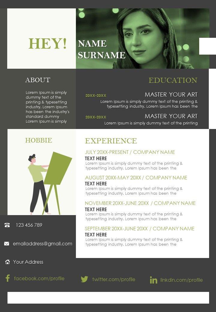 Visually Pleasing Resume Illustration CV Design Template