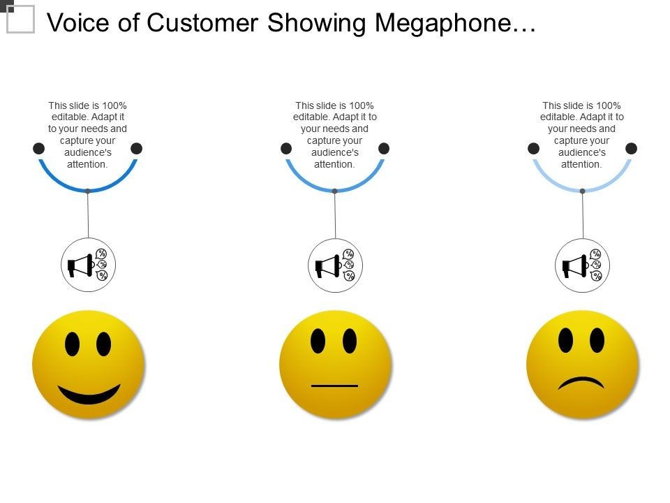 voice_of_customer_showing_megaphone_with_3_options_Slide01