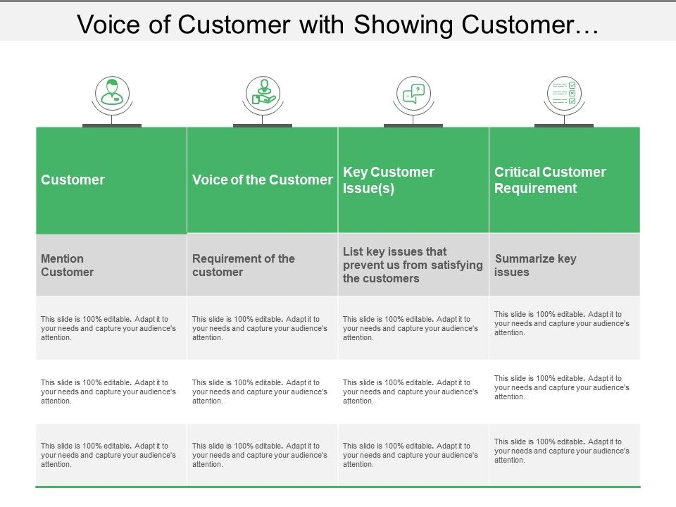 voice_of_customer_with_showing_customer_requirements_and_key_issues_Slide01