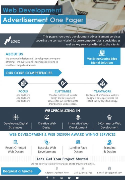 Web Development Advertisement One Pager Presentation Report Infographic Ppt Pdf Document Presentation Graphics Presentation Powerpoint Example Slide Templates