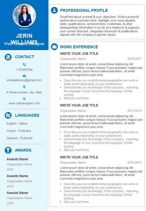 Web Graphic Designer Sample Resume Cv Template Powerpoint