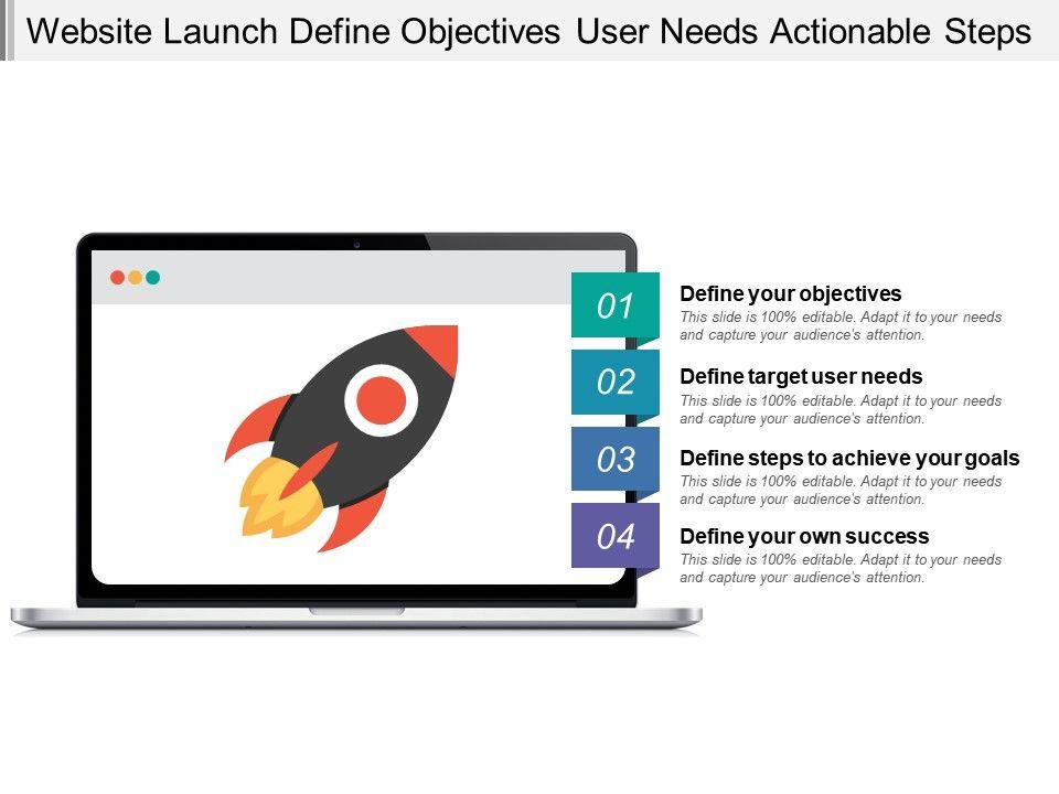 website_launch_define_objectives_user_needs_actionable_steps_Slide01