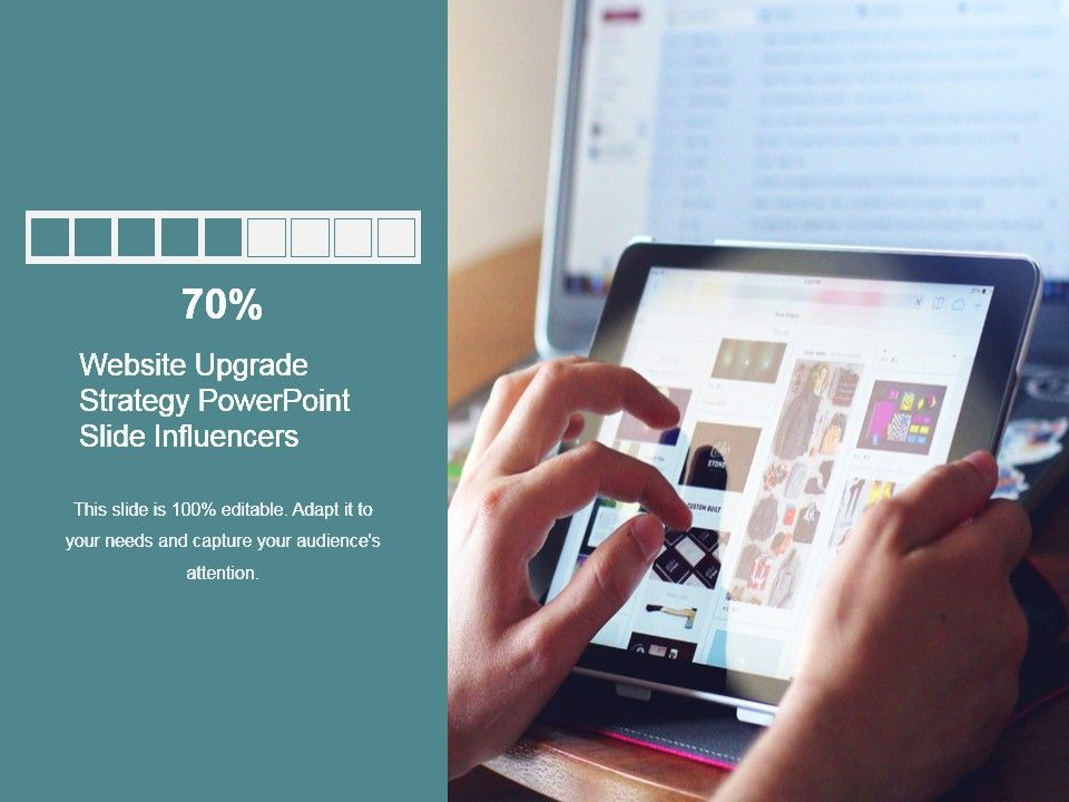 website upgrade strategy powerpoint slide influencers graphics