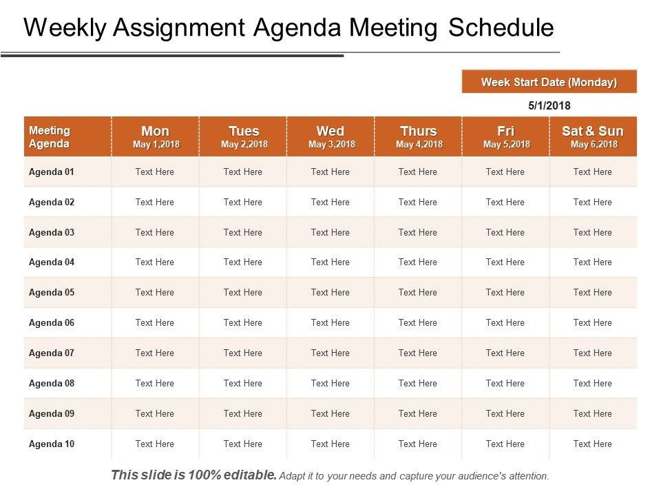 Weekly Assignment Agenda Meeting Schedule Ppt Images | PowerPoint
