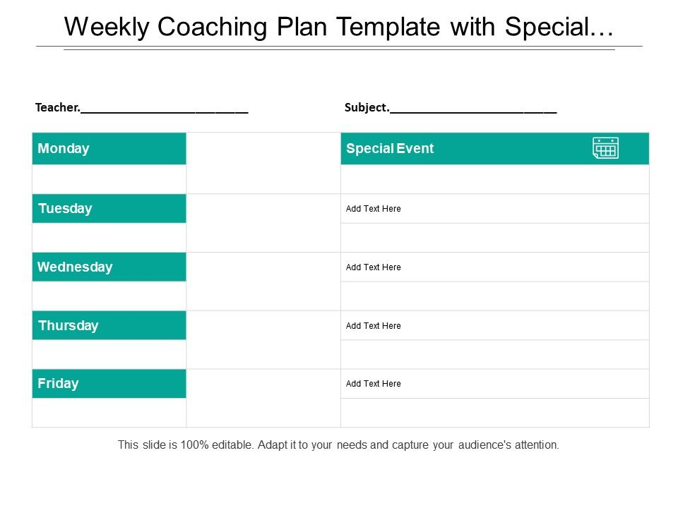 Weekly Coaching Plan Template With Special Events Graphics