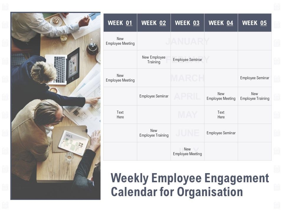 Weekly Employee Engagement Calendar For Organisation