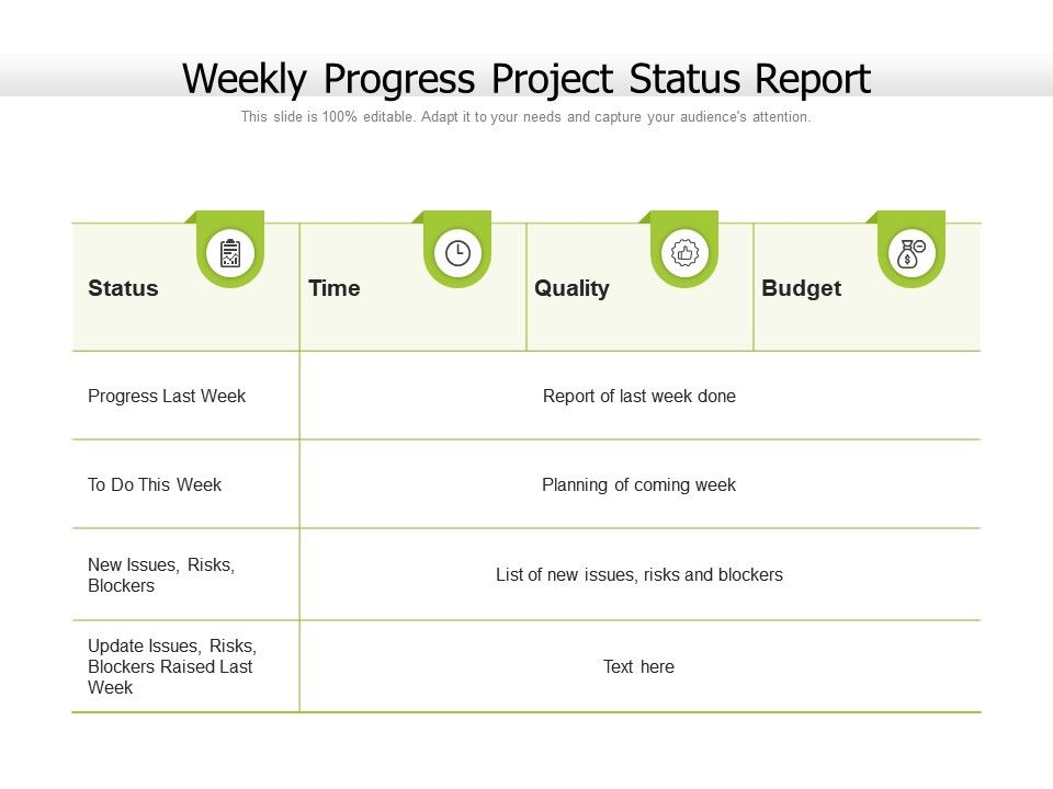 Weekly Progress Project Status Report