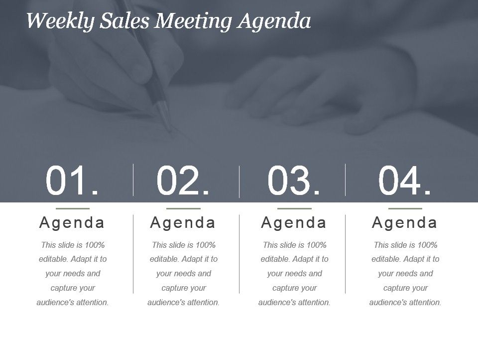 Weekly Sales Meeting Agenda Powerpoint Slide Presentation Sample