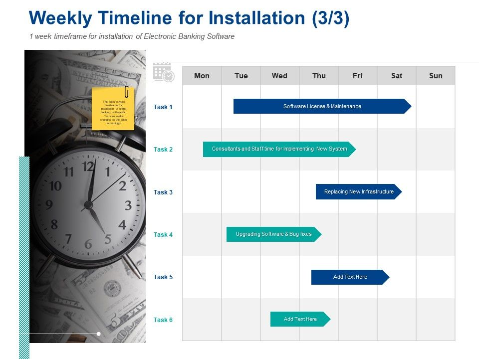 Weekly Timeline For Installation Maintenance Ppt Powerpoint Presentation Styles Master Slide