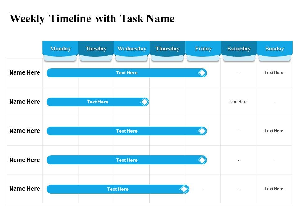 Weekly Timeline With Task Name L2216 Ppt Powerpoint Presentation Outline Portfolio