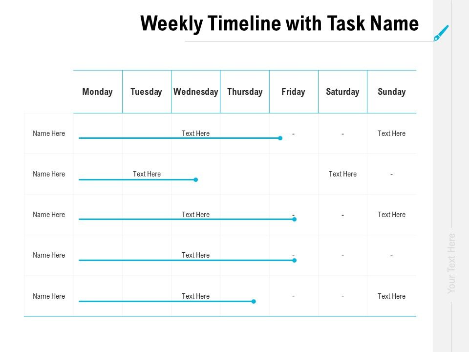 Weekly Timeline With Task Name Ppt Powerpoint Presentation Layouts Picture