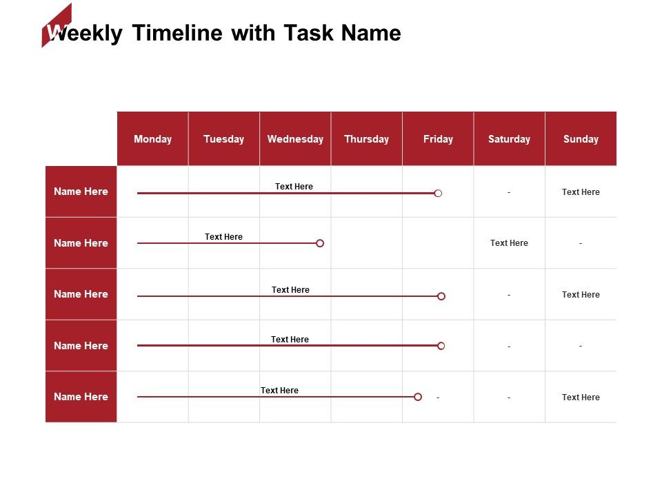 Weekly Timeline With Task Name Table Ppt Powerpoint Presentation Professional Good