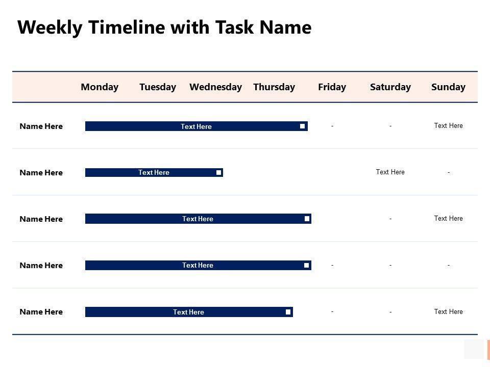 Weekly Timeline With Task Name Weeks Ppt Powerpoint Presentation Slides