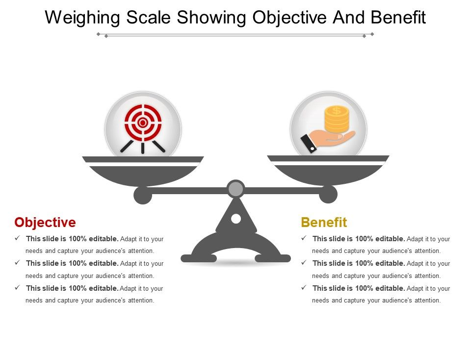 Weighing Scale Showing Objective And Benefit Powerpoint Layout | PPT