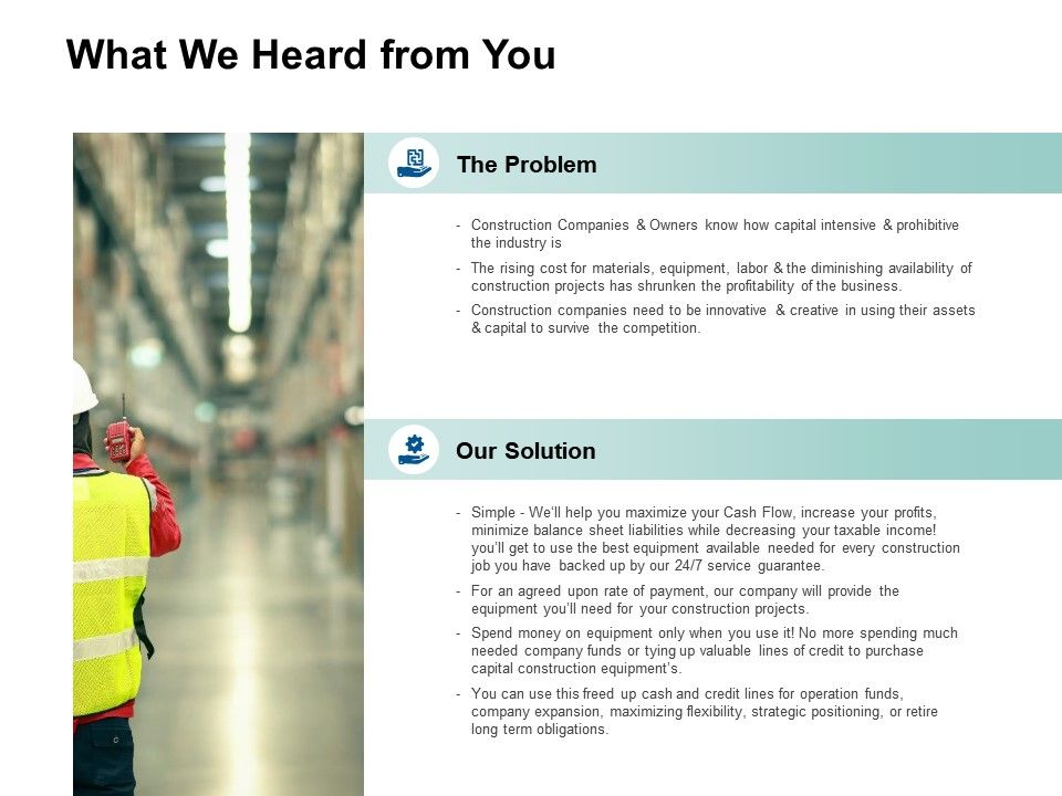 What We Heard From You Problem Solution Ppt Powerpoint Presentation Layouts