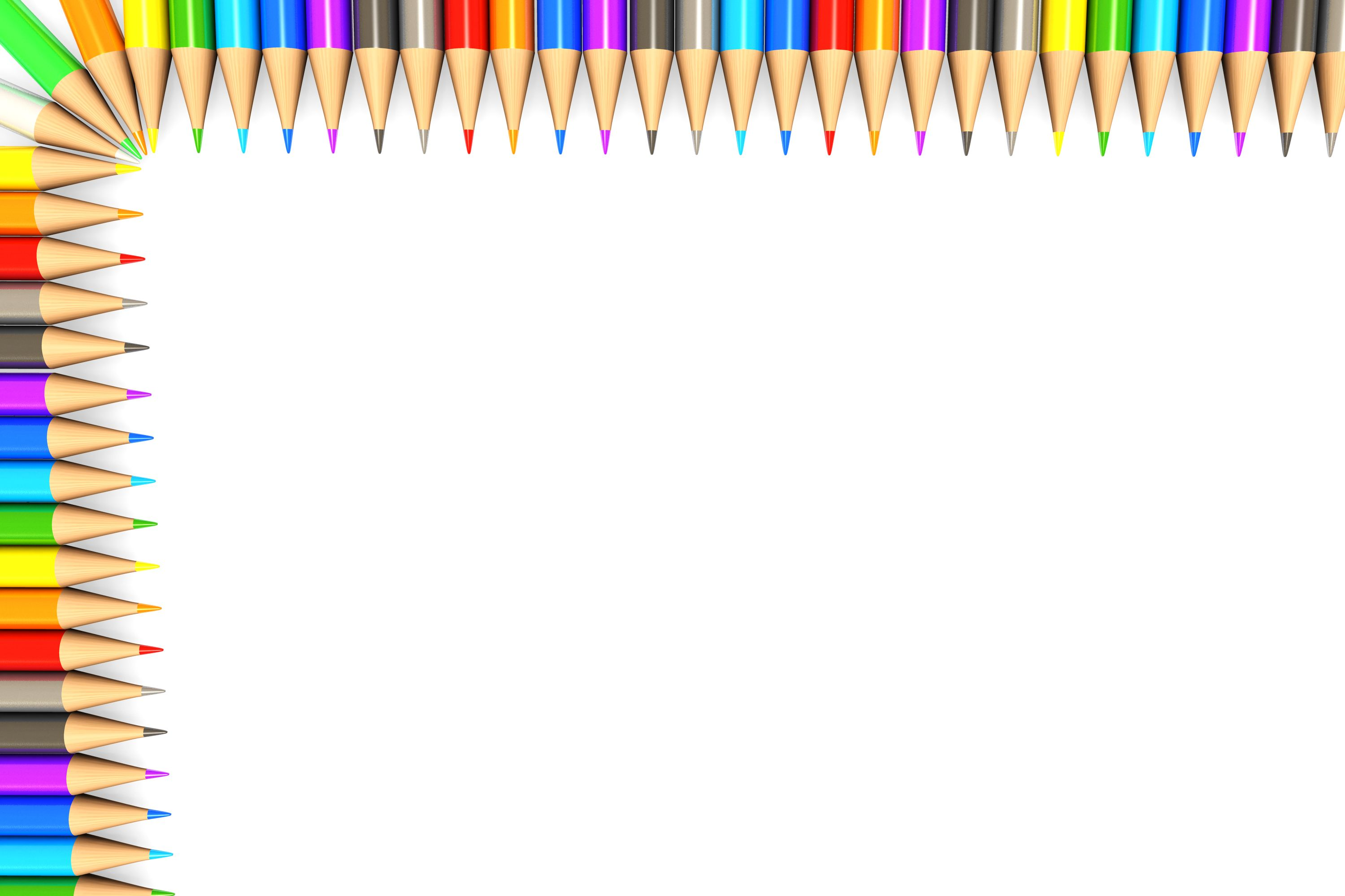 White Background Made Of Colorful Pencils Border Stock Photo Ppt