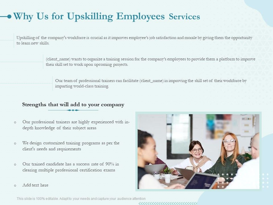 Why Us For Upskilling Employees Services Ppt Powerpoint Presentation Ideas Portrait